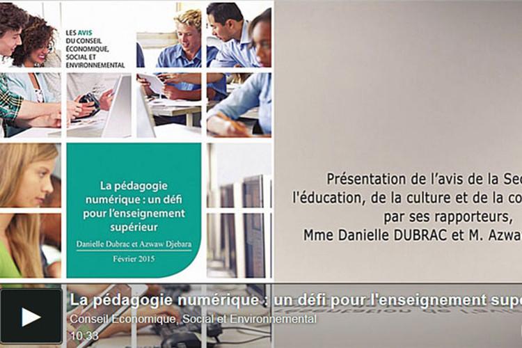 Préconisations du Conseil Économique Social et EnvironnementalCESE sur la pédagogie numérique