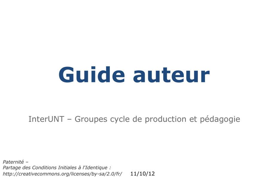 Guide de l'auteur d'une ressource pédagogique numérique