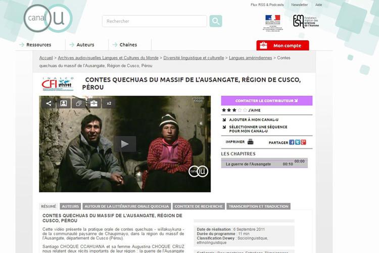 Exemple d'une vidéo sur Canal-U sur les contes quechuas